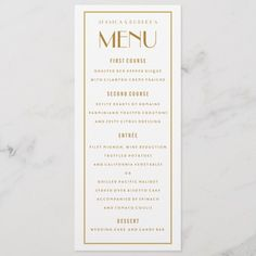 Shop Art Deco Backer Gold Border Wedding Menu Card created by beckynimoy. Personalize it with photos & text or purchase as is! Art Deco Wedding, Wedding Themes, Gold Wedding, Wedding Bells, Wedding Ideas, Menu Bar, Wedding Menu Cards, Art Deco Jewelry, Jewelry Rings