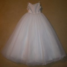 $130.00 - NWT Size 12 White Satin and Tulle Flower Girl Dress;