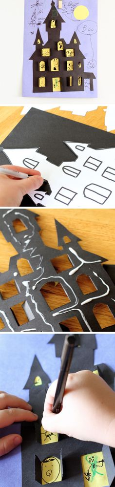 Haunted House Halloween Cut-out | Click Pic for 21 DIY Halloween Crafts for Kids to Make | DIY Halloween Crafts for School Parties