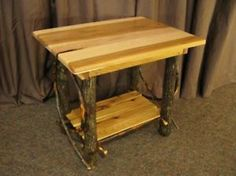 Perfect Rustic Wood End Tables | Amish Rustic Log End Table Solid Hickory Wood  Furniture Cabin Lodge