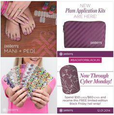 Just a reminder that the Jamberry Black Friday/Cyber Monday deal ends today!   Shop for gifts for others and maybe some for you too!  One sheet of wraps, which gets you 2 full manis & 2 full pedis, lasts up to 2 weeks!  TODAY ONLY you can buy all the last year's SSE wraps  - and grab a FREE exclusive wrap for placing a $50 order. Did I mention the NEW application kits in adorable plum bags just released today too? Ahhhh! Today is the day ladies! Order soon before these special deals are…