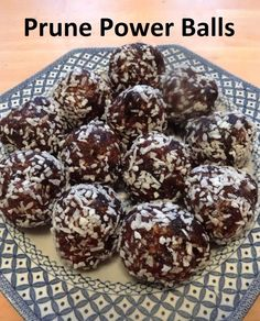 Prune Power Balls Are Yummy and Full of Energy - Real Food for Life Healthy Fruit Desserts, Vegan Dessert Recipes, Baby Food Recipes, Whole Food Recipes, Healthy Snacks, Snack Recipes, Detox Recipes, Toddler Cookies, Prune Recipes