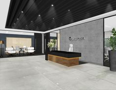 office design rendered visual reception desk five interiors