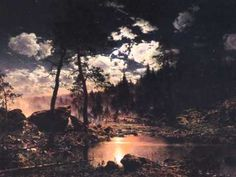 "leirelatent: "" ""Forest Lake in the moonlight"" Hjalmar Munsterhjelm "" Forest Art, Dark Forest, Water Lighting, Retro Futurism, Sci Fi Art, Landscape Paintings, Landscapes, Moonlight, Sunrise"