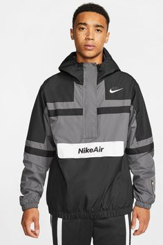 Buy Nike Air Woven Jacket from the Next UK online shop Men Street, Street Wear, Nike Air Jacket, Mens Nike Air, Bold Fashion, Gray Jacket, Woven Fabric, Windbreaker, Street Style