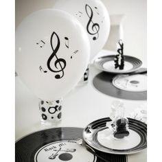 Ballons notes de musique blanc noir 23 cm les 8