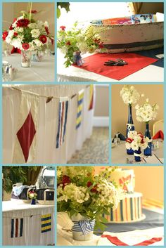 Nautical themed baby shower with flowers grown, designed and photographed by Buckeye Blooms.