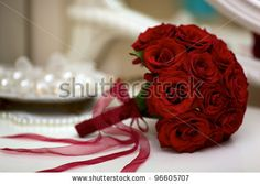 red bouquet with pearls