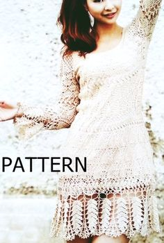 Pattern tunic long sleeve dress summer sexy lace shirt fall top crochet pdf wedding 2