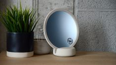 very-pale-dove-grey-mirror-with-base Bed Company, Make A Table, Magnifying Mirror, Dove Grey, Contemporary, Modern, Neutral, Clay, Bath