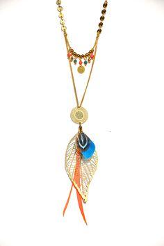Sautoir plume turquoise, orange et doré, estampe doré -Bijoux ENORA-
