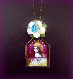 Gypsy necklace, shadow box necklace, collage necklace, boho necklace, artisan necklace, locket, bohemian jewelry, OOAK