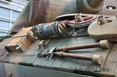 Detailed photo of equipment stored on the right side of a Panther tank.