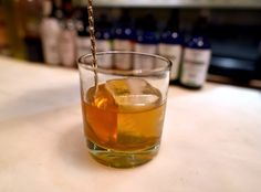 A Winter Old-Fashioned combines bourbon and apple brandy for a cold-weather drink that offers an elegant complexity. Drinks Alcohol Recipes, Cocktail Recipes, Alcoholic Drinks, Drink Recipes, Beverages, French Cocktails, Winter Cocktails, Bitter Lemon