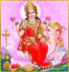 Goddess Lakshmi with her vahana ( vehicle) Gaja. Krishna Leela, Krishna Art, Ganesha Art, Divine Mother, Mother Goddess, Lord Krishna Images, Krishna Photos, Shiva Wallpaper, S5 Wallpaper