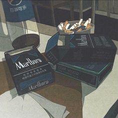 ☠️Someday cigarettes will ruin me☠️ dead dead dead Aesthetic Images, Retro Aesthetic, Aesthetic Anime, Aesthetic Wallpapers, Old Anime, Anime Art, Arte Dope, Japon Illustration, Makeup Illustration