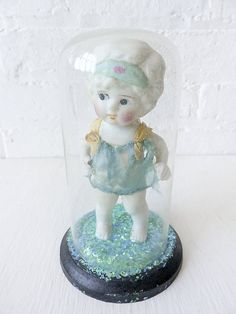 Vintage Doll incased in Glass Dome