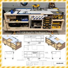 woodworking - PDF Mobile Project Center Workbench Plans DeWalt Kreg Miter Saw Stand Table Saw Outfeed Router Table Planer Stand Dust Collect Easy Woodworking Projects, Woodworking Shop, Woodworking Plans, Woodworking Basics, Woodworking Classes, Woodworking Patterns, Woodworking Jigsaw, Woodworking Chisels, Woodworking Equipment