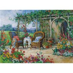 Giclee Print: Sunny Morning by Barbara Mock : Gif Animé, Counted Cross Stitch Patterns, Muted Colors, Framed Artwork, Framed Canvas, Framed Prints, Canvas Art Prints, Find Art, Giclee Print