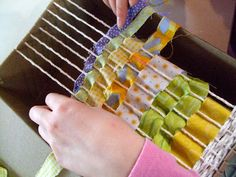 Weaving Fabric Scraps with Children