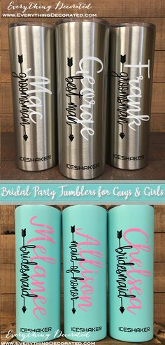 Bridal Party Tumblers for The Entire Wedding Party! Best Man, Groomsman, Maid of Honor, Bridesmaid and More! Groomsmen Flask, Best Groomsmen Gifts, Bridesmaids And Groomsmen, Groomsman Gifts, Wedding Shower Gifts, Gifts For Wedding Party, Wedding Stuff, Wedding Ideas, Etched Mason Jars