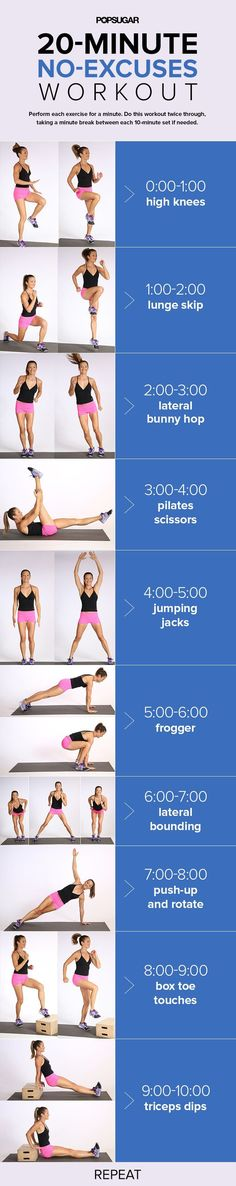 This at-home workout mixes straight up cardio moves with classic strength-training moves. It's only 20 minutes long, plus it is printable, which makes it travel friendly.