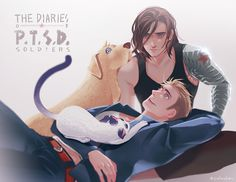 Steve with his cat and Bucky with his dog ...