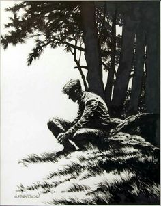 Illustration by Bernie Wrightson [More Bernie Wrightson and Illustrations on Rhade-Zapan] Gravure Illustration, Illustration Art, Comic Books Art, Comic Art, Ink Illustrations, Pen Art, Art Sketchbook, Art Inspo, Art Reference
