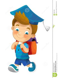 Cartoon Child Going To School - Illustration For Children Royalty Free Stock Photos - Image: 35897408