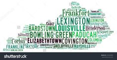 Word Cloud In The Shape Of Kentucky Showing Some Of The Cities In The State Stockfoto 293634380 : Shutterstock