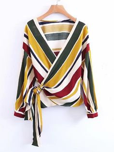 LD Helly Fashion Women Striped Cross Bow Tie Blouse Shirts Elegant V-Neck Long Sleeve Shirt Casual Brand Tops Blusas Feminina Cardigans For Women, Blouses For Women, Bow Tie Blouse, Wrap Blouse, Long Blouse, Wrap Shirt, Sexy Blouse, Long Sleeve Wrap Top, Blouse Vintage