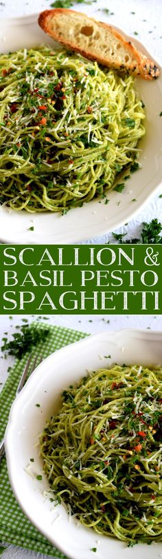 Scallion and Basil Pesto Spaghetti