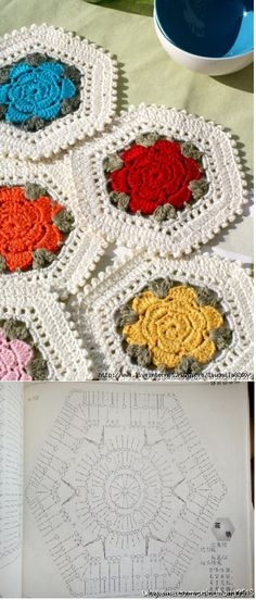 Crochet Flowers Design make a flower with left over balls of yarn to use them all up - colourful floral rug hexagon Crochet Diagram, Crochet Chart, Love Crochet, Crochet Motif, Crochet Stitches, Crochet Granny, Hexagon Crochet, Thread Crochet, Crochet Potholders