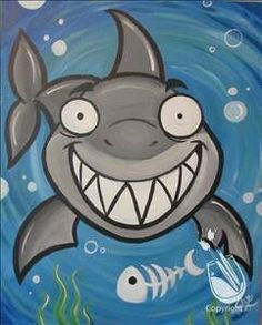 Image result for easy shark painting