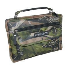 This polyester canvas bible cover features the mossy oak camo print. It offers lots of storage with a front zipper pocket and gusseted flap pocket, back slip pocket and interior zippered mesh pocket. Stay organized while on the go. Holds bibles up to sizes 8 7/8 X 6 1/8 X 1 1/2 inches.