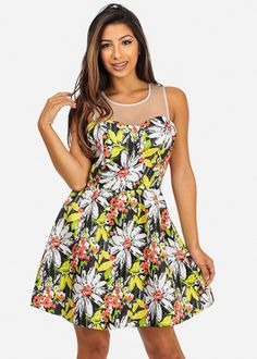 Black Sleeveless Floral Mesh Fit-And-Flare Mini Dress
