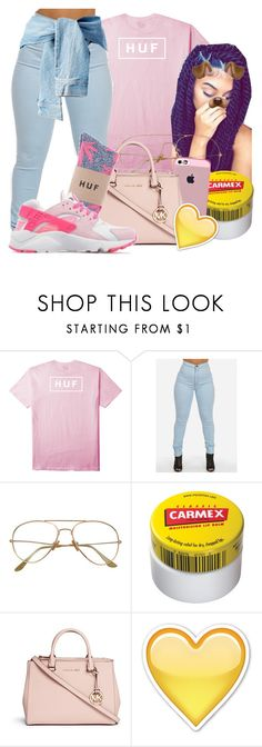 """""""Pink Lemonade"""" by baby-marii ❤ liked on Polyvore featuring HUF, Poetic Justice, Carmex and Michael Kors"""