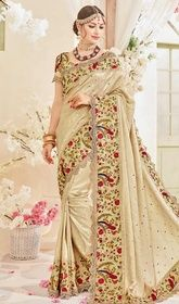 Beige Color Shaded Silk Embroidered Sari #bandhanidesignersarees#indiandesignersari Create an aura of elegance this festive season stepping out in this beige color shaded silk embroidered sari. That you can see some interesting patternsaccomplished with lace and resham work. Upon request we can make round front/back neck and short 6 inches sleeves regular saree blouse also. USD$ 229(Around £ 158 & Euro 174)