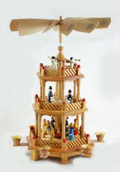 Vintage German Christmas Nativity Pyramid Carrousel - 3 Tier