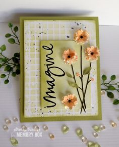 Distressed Grid stencil background with Antilies Floral Bouquet die and Sketchbook Imagine die
