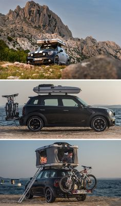 Rev the Roof: Tiny Rooftop Tent Rides on MINI Cooper Cars Rev the Roof: Winzige Zeltfahrten auf dem Dach mit MINI Cooper Cars Top Tents, Roof Top Tent, Roof Rack Tent, Accessoires Mini Cooper, Mini Cooper Accessories, Mini Countryman Accessories, Cooper Countryman, Automobile, Outdoors