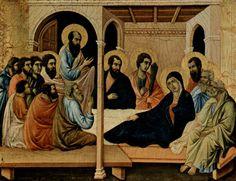 Маэста, алтарь сиенского кафедрального собора, передняя сторона, Алтарь со сценами Успения Марии: Прощание апостолов с Марией Дуччо ди Буонинсенья