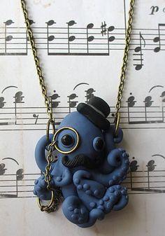 Dapper Octopus Necklace, Cameo Necklace, Skull Cameos, Gothic Necklaces, Horror Necklaces, Psychobilly Necklaces, Goth Necklaces, Ribcage Necklaces, Punk Rock Neclaces, Punk Necklaces Jewelry $23.99