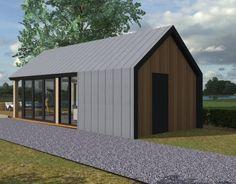 Roof Cladding, House Cladding, Steel Frame House, A Frame House, Minimal House Design, Tiny House Design, Modern Barn House, Houses In France, Solar House