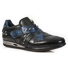Black & Metallic Blue Leather Hybrid Shoes *May take up to 45 - 50 Days to Receive*-Black & Metallic Blue Leather dress shoes from New Rock Shoes. One velcro fastener to adjust for comfort and fit. Metal on the heels. Small metal skull and studs Metal Skull, Leather Dress Shoes, Metallic Blue, Cow Leather, Studs, Rock, Heels, Sneakers, Batu