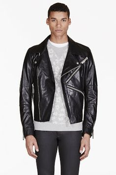 Kenzo Black Logo Zip Leather Biker Jacket