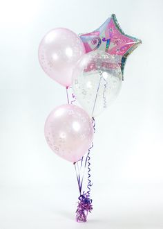 Pink And Silver Star Shaped 21st Birthday Balloon With 2 Light Balloons