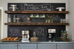 Here are 30 brilliant coffee station ideas for creating a little coffee corner that will help you decorate your home. See more ideas about Coffee corner kitchen, Home coffee bars and Kitchen bar decor, Rustic Coffee Bar. New Kitchen, Kitchen Dining, Kitchen Decor, Kitchen Ideas, Dining Area, Basement Kitchen, Rustic Kitchen, Kitchen Layouts, Decorating Kitchen