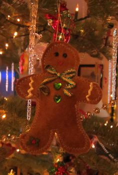 2011 Felt gingerbread man for boys lightly stuffed with polyfil and scented with ginger oil
