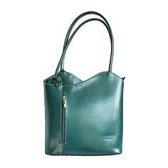 Multi-Way Teal Green Leather Shoulder Bag/Backpack Lush Green, Teal Green, Green Leather, Leather Bags, Backpack Bags, Tote Bags, Leather Shoulder Bag, Shoulder Bags, Italian Leather